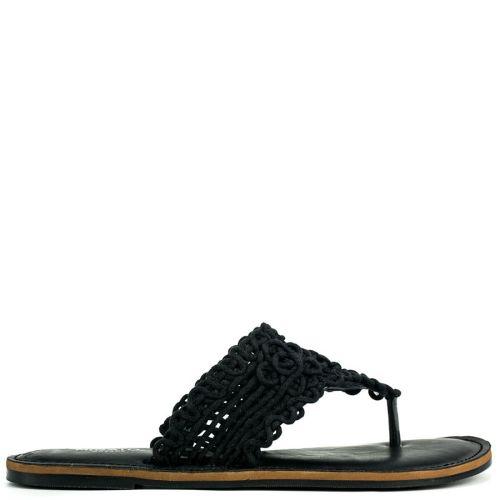 Black sandal in fabric