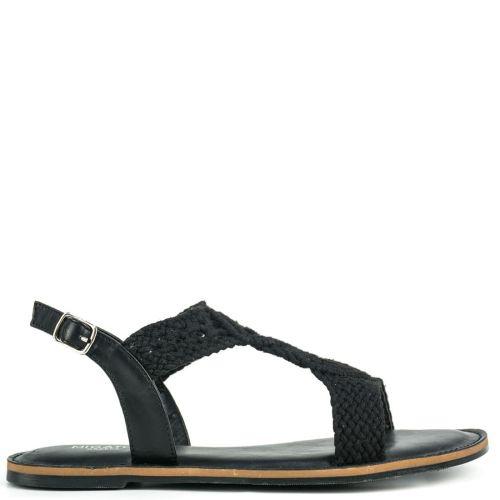 Black knitted sandal