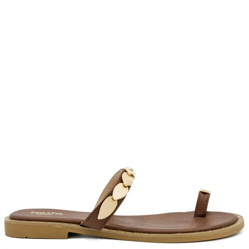 Brown flat sandal with metal decoration