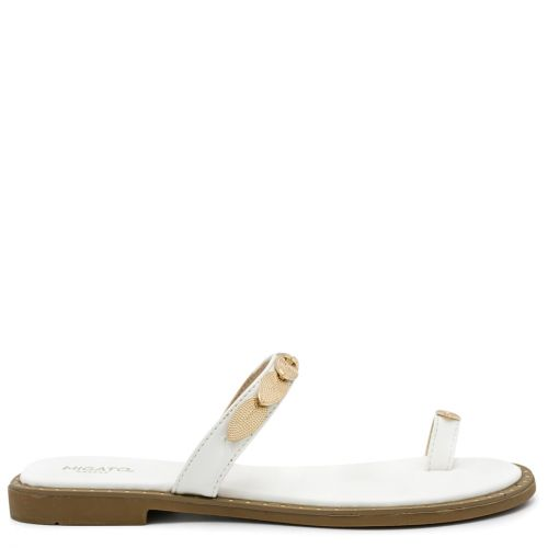 White flat sandal with metal decoration
