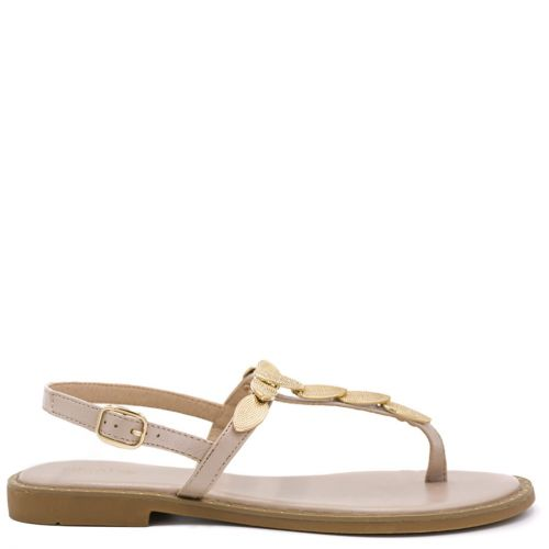 Beige flat sandal with metal decoration