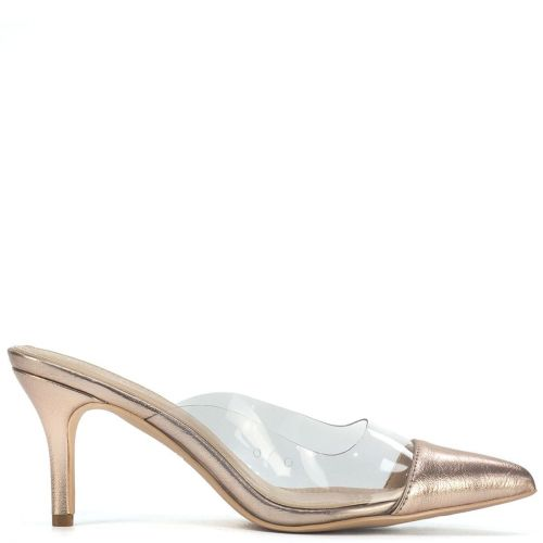 Pink gold mule with pvc