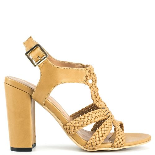 Beige knitted high heel sandal