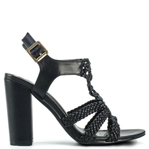 Black knitted high heel sandal