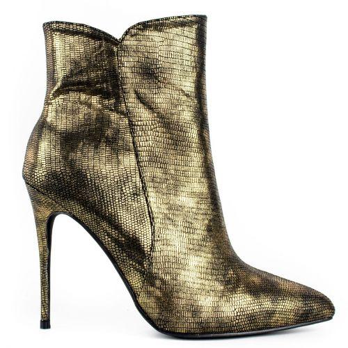Metallic gold high heel bootie