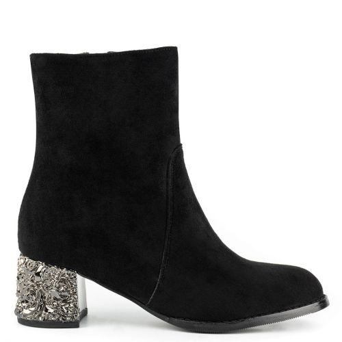 Black suede high heel bootie