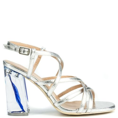 Silver sandal with pvc heel