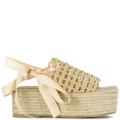 Beige lace up wedge