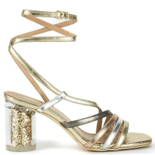 Gold metallic lace up sandal