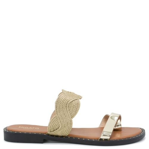Gold sandal with rope