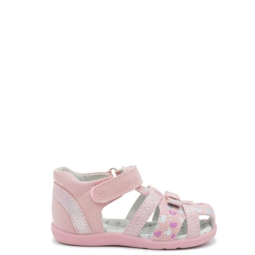 Kid's pink sandal with hearts print