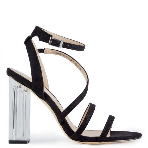 Black sandal with perspex heel