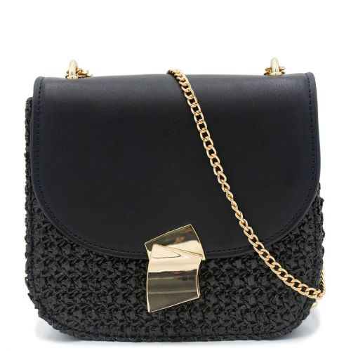 Straw bag with black flap