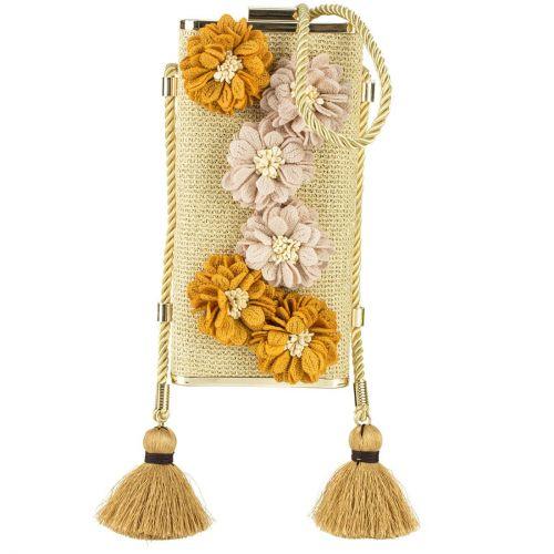 Μπεζ ψάθινο clutch με λουλούδια
