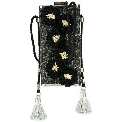 Μαύρο ψάθινο clutch με λουλούδια