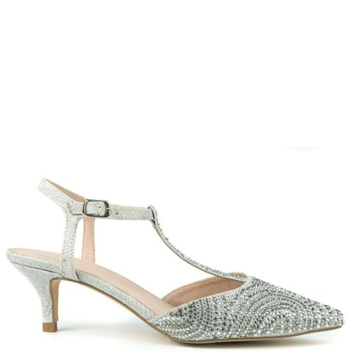 Silver pump with rhinestones