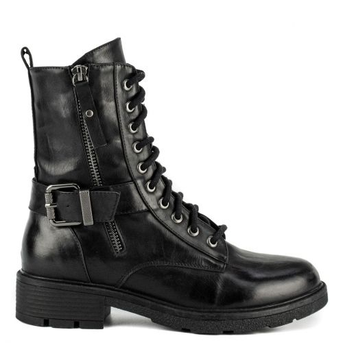 Black army boot with straps