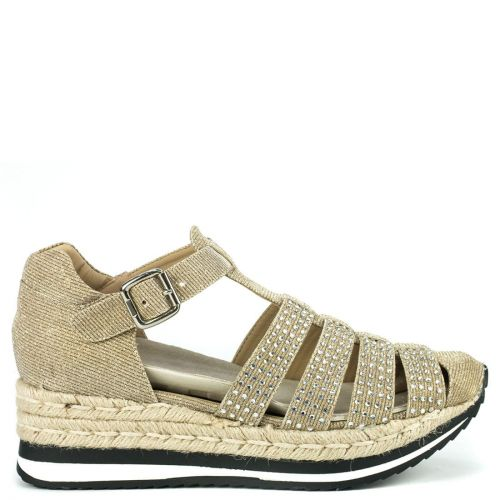 Gold espadrille with glitter