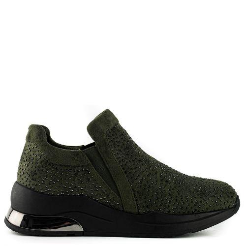 Khaki sneaker with rhinestones