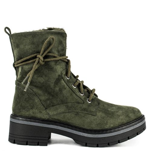 Khaki army boot with fur