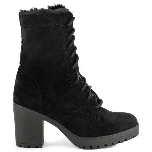Black high heel army boot