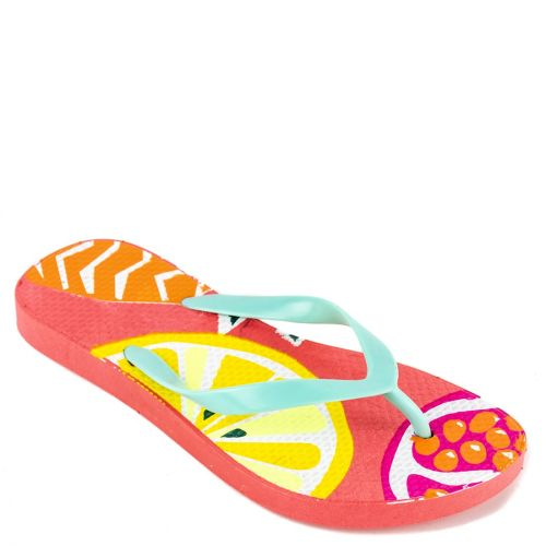 Kid's flip-flop with orange thong and insole print
