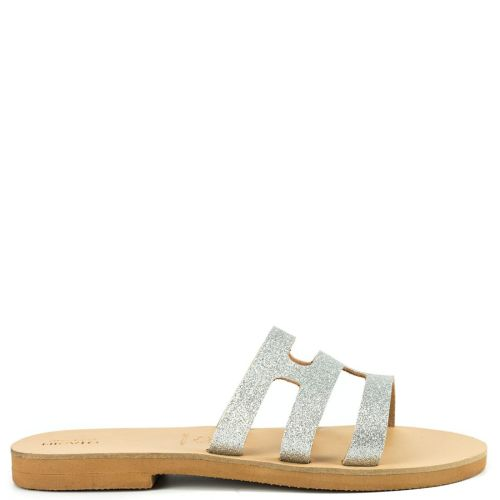 Silver leather sandal with glitter