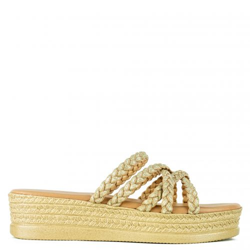 Gold leather flatform with knitted straps