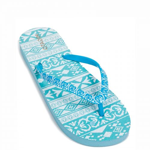 Turquoise flip flop with print