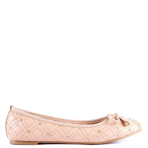 Camel ballet flat with studs