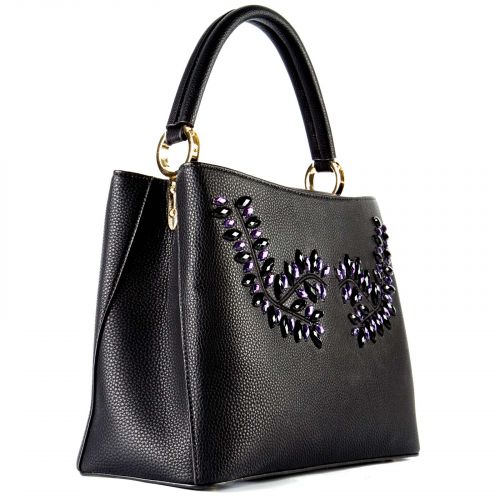 Mαύρη τσάντα με κρύσταλλα