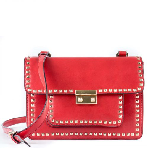 Red crossbody bag with studs