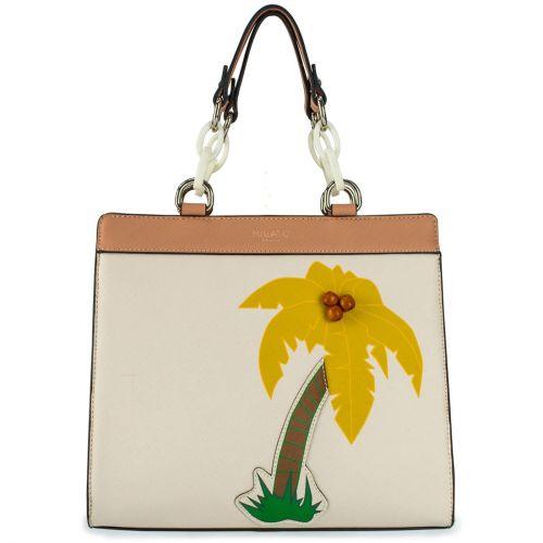Beige handbag with palm tree