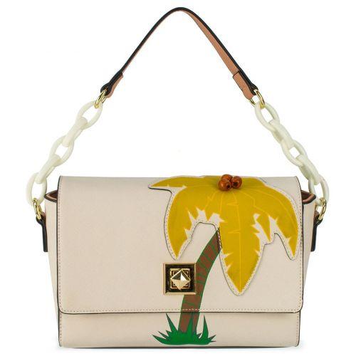 Μπεζ τσάντα ώμου με σχέδιο φοίνικα