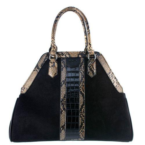 Black suede textured handbag