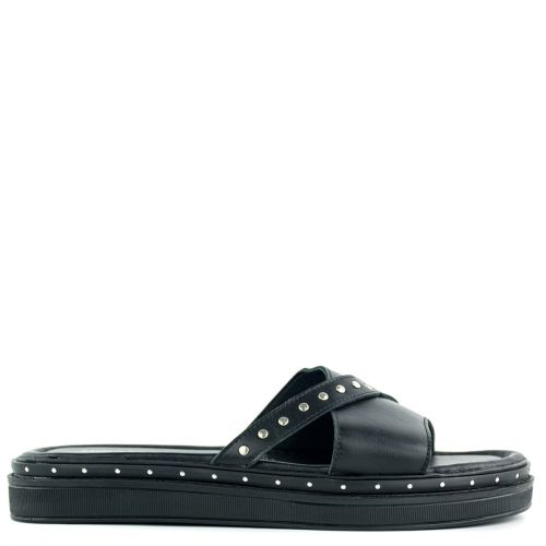 Black leather sandal with band