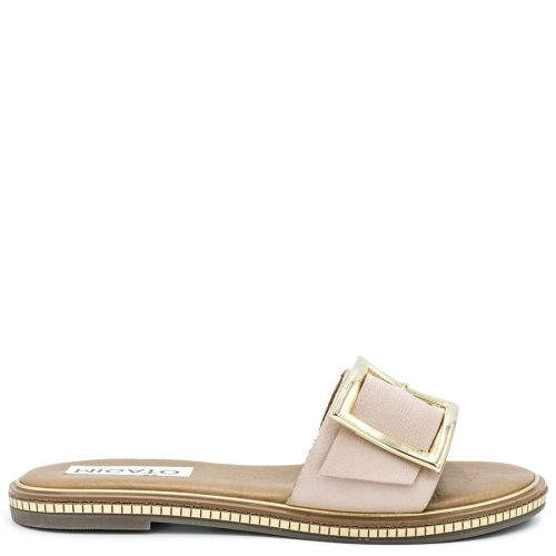 Nude leather sandal with band