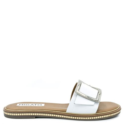White leather sandal with band