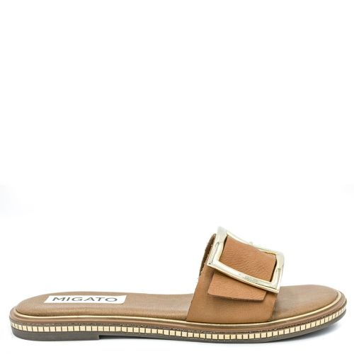 Tobacco leather sandal with band