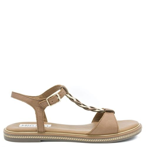 Tobacco leather sandal