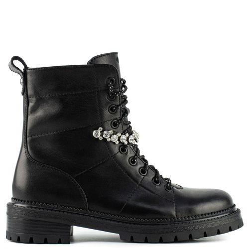 Black leather army boot with rhinestones