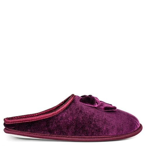 Burgundy velvet slipper
