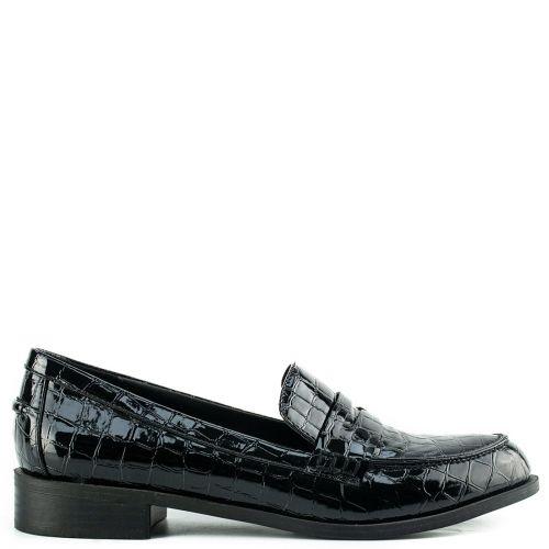 Black croc loafer