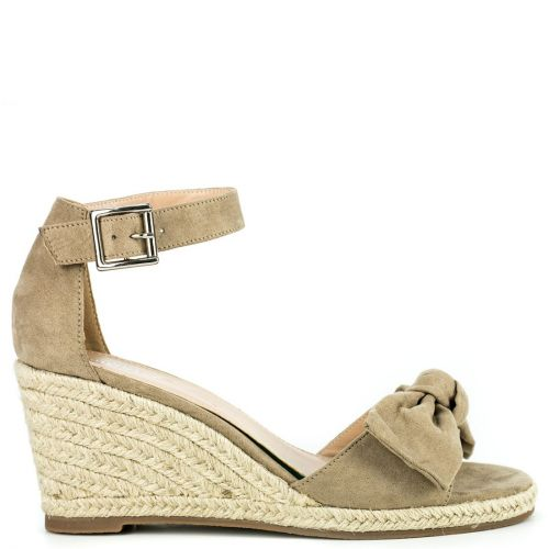 Taupe espadrille in suede texture