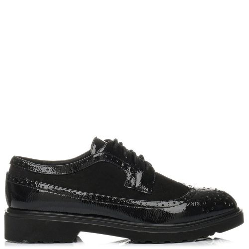 Black perforated oxford