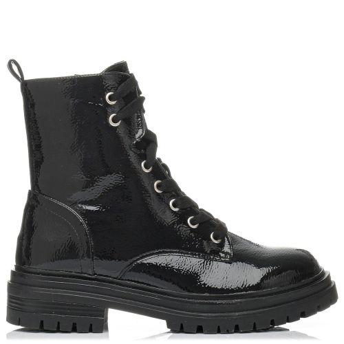 Black faux croc army boot