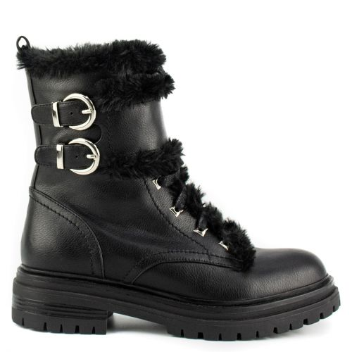Black army boot with fur