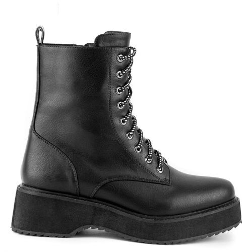 Black army boot with laces