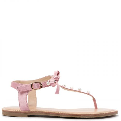Pink satin sandal with pearls