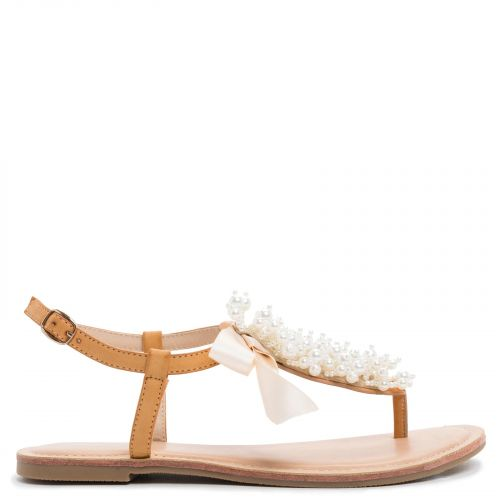 Camel sandal with pearls